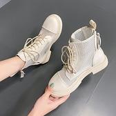 短靴 馬丁靴女英倫風夏季薄款百搭平底短靴雙拉鍊瘦瘦靴子透氣網靴 芊墨左岸