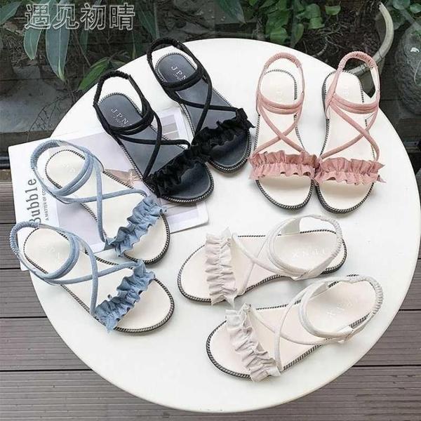 休閒涼鞋新款12夏季少女孩夏天平底女生涼鞋11初中學生10大童15歲 快速出貨