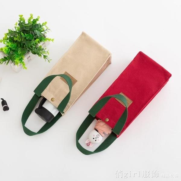 便當袋 手提帆布包隨行水杯袋上班手提袋子通用杯套簡約純色小布包小方包 618購物節