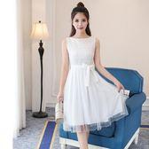 無袖洋裝 夏款新品甜美公主清新氣質顯瘦高腰仙氣無袖洋裝LJ9487『黑色妹妹』