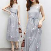 吊帶連衣裙春夏兩件組小清新真絲刺繡背心長裙女氣質仙女裙