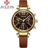 JULIUS 聚利時LADY FIRST 三眼 皮錶帶腕錶復古棕34mm ~JA 958C