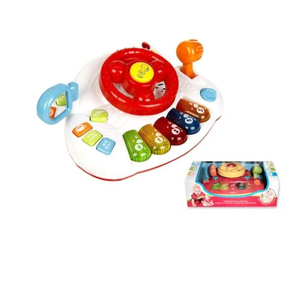 仿真駕駛方向盤寶寶桌面音樂燈光玩具
