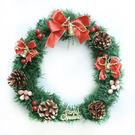 聖誕-摩達客-11吋可愛蝴蝶結聖誕花圈(紅金色系)(台灣手工組裝出貨)