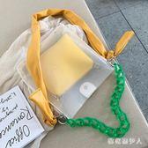 夏季果凍包2019新款潮時尚斜挎包百搭透明單肩包手提子母包  QX10402 【棉花糖伊人】