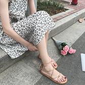 韓國 顯白簡約百搭交叉露趾綁帶平底涼鞋羅馬鞋女鞋夏  檸檬衣舍