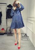 *桐心媽咪.孕婦裝*【CT0283】魅力加分.牛仔娃娃裙-藍色