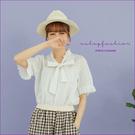 棉麻衫 小甜甜蕾絲領綁帶織紋棉麻衫 單色-小C館日系
