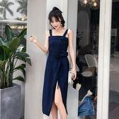 洋裝吊帶裙 雪紡吊帶連身裙中長款背心開叉長裙復古溫柔風 巴黎春天