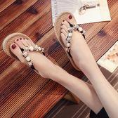 平底人字拖女夏新款夾腳夏天百搭海邊沙灘鞋外穿旅游度假拖鞋 三色36-40