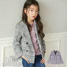 女童外套 甜美英倫風雙排扣格紋西裝外套 韓國外貿中大童 QB allshine