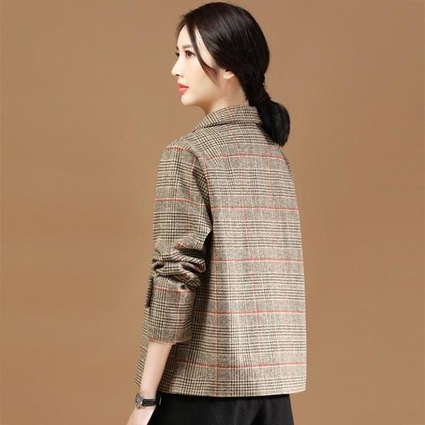 外套 长袖 百搭外套格子西裝領毛呢外套女韓版英倫風呢子復古短大身潮NE68-A1 胖妞衣櫥