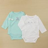 【愛的世界】純棉綁帶長袖包屁衣2件組/6個月-台灣製- ★幼服推薦