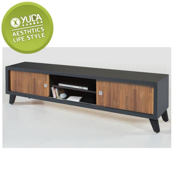 【YUDA】安琪拉 6尺 集層 雙色 推門 木心板 電視櫃/長櫃 J8F 221-2
