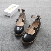 復古森女系圓頭女鞋娃娃鞋方跟單鞋夏學生搭扣平底日系淺口小皮鞋 【PINKQ】