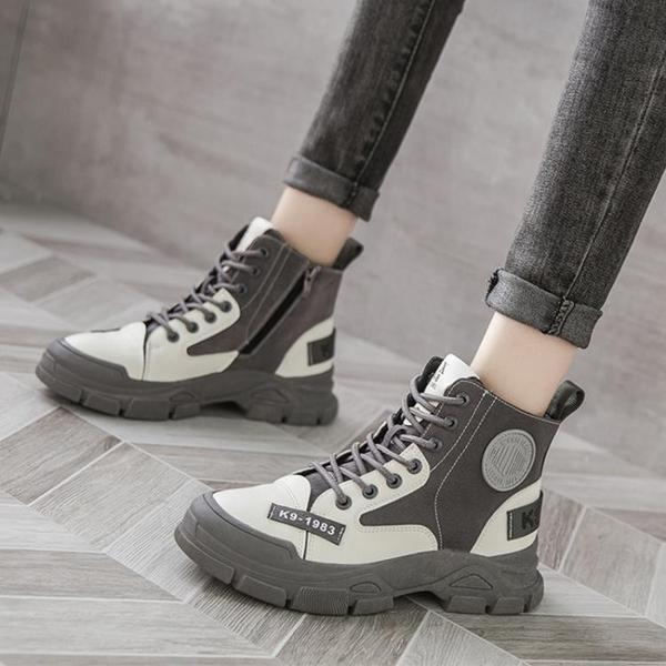 馬丁靴女2021新款秋冬季英倫風短靴復古百搭厚底工裝靴高幫帆布鞋 百分百