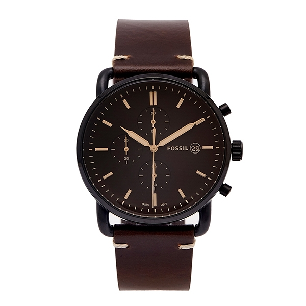 【Fossil】COMMUTER紳士品味復古時尚真皮摩登腕錶-深棕款/FS5403/台灣總代理公司貨享兩年保固