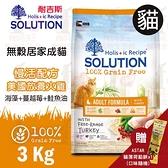 PRO毛孩王 耐吉斯SOLUTION 超級無穀 成貓居家慢活配方 美國放養火雞肉3kg