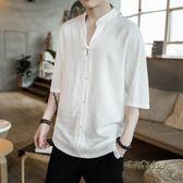 亞麻短袖男裝寬鬆T恤棉麻大碼胖子上衣半袖七分袖夏季潮流「時尚彩虹屋」