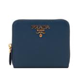 【PRADA】浮雕logo防刮拉鍊零錢 短夾(深藍色) 1ML036 QWA F0016