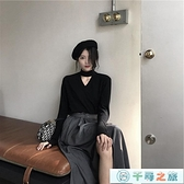休閒上衣v領針織衫性感鏤空毛衣寬松顯瘦長袖高領上衣女【千尋之旅】