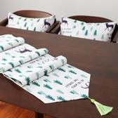 一件8折免運 北歐鹿小樹桌旗布藝棉麻鞋柜電視柜餐桌中間桌布條茶幾旗床旗尾巾