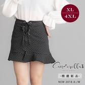 大碼仙杜拉-中大尺碼點點風綁帶高腰短裙 XL-4XL碼 ❤【ENW108】(預購)