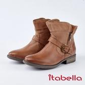 itabella.質感柔軟綿羊皮飾釦短靴(8755-31棕色)