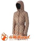 【Wildland 荒野 女款 輕量四層700FP中長羽絨衣 黃卡其】0A32101/連帽外套/羽絨外套/保暖外套