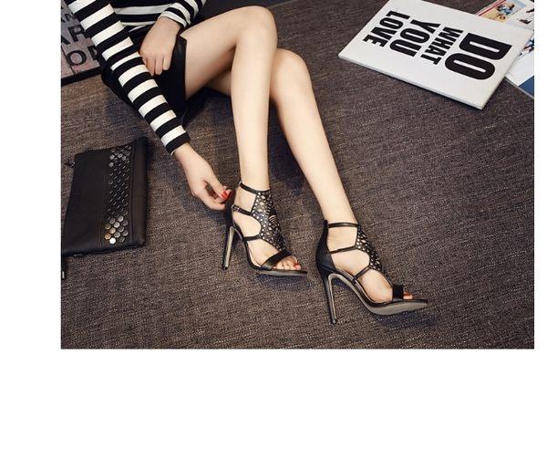 2016夏新女涼鞋高跟鉚釘搭扣細高跟露趾潮鞋女鞋子