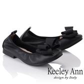 ★2018秋冬★Keeley Ann簡約百搭~立體蝴蝶結緞帶柔軟舒適娃娃鞋(黑色)