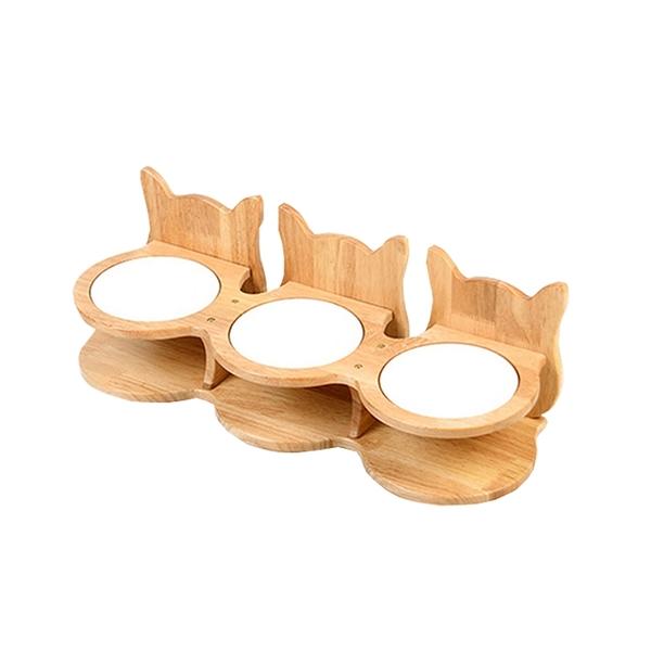 寵物家族-FD.Cattery 喵仙兒-三胞胎貓耳碗架組(附瓷碗)