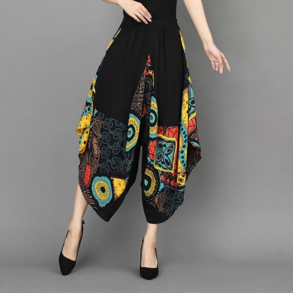 寬管褲 2020夏季薄款燈籠褲女民族風印花燈籠褲寬鬆九分褲闊腿褲蘿卜褲女