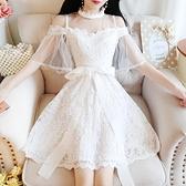 一字領洋裝 2020年新款法式小矮個子一字露肩白色網紗蕾絲公主洋裝仙女夏天
