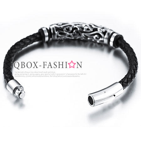 《 QBOX 》FASHION 飾品【W2015N901】精緻個性鏤空圓柱圖騰編織皮革316L鈦鋼手鍊/手環