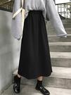 2020新款遮胯裙子高腰中長款半身裙春季學生長裙顯瘦女黑色A字裙 韓國時尚週