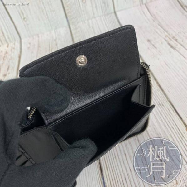 BRAND楓月 BALENCIAGA 巴黎世家 580838 黑色 鱷魚壓紋 拉鍊短夾 經典實用款