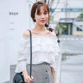 甜美一字領露肩上衣女夏季2019新款韓版荷葉邊寬鬆百搭短袖雪紡衫   圖拉斯3C百貨