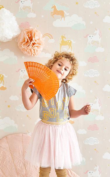 兒童房 女生房 獨角獸  荷蘭 Majvillan / Rainbow treasures lovely pastel pink / 129-03