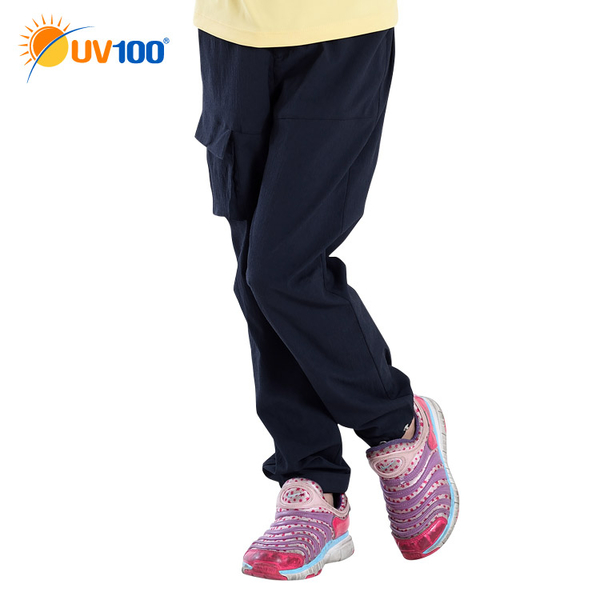 UV100 防曬 抗UV-輕薄時尚休閒束口褲-童