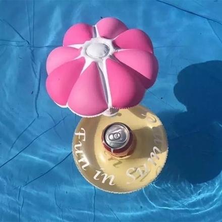 小傘水上充氣杯座 水上飲料杯座 可樂套 夏日必備