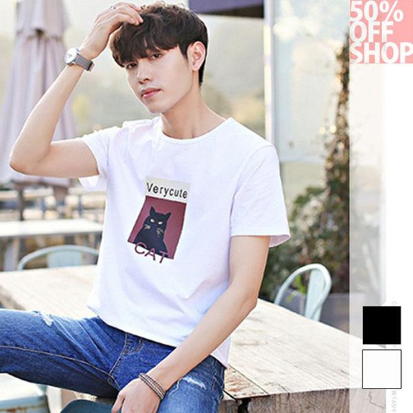 50%OFF SHOP男式t恤新品休閒圓領卡通貓印花短袖T-SHIRT衫衣 (2色)(M-XXL)【BA035900C】