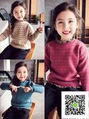 女童毛衣  秋冬新款兒童寶寶女童毛衣高領針織衫加絨加厚保暖洋氣套頭潮 歐歐流行館
