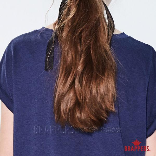 BRAPPERS 女款 連袖印箔寬版短袖T恤-藍