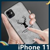 iPhone 11 Pro Max 麋鹿布紋保護套 軟殼 浮雕壓紋 牛仔絨布 蝙蝠俠 可掛繩 全包款 手機套 手機殼