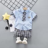時尚潮款2020夏季新款男童短袖襯衫1-3歲男寶寶休閒襯衣短褲套裝4