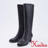 kadia .氣質優雅牛皮直筒高跟長靴9855 90 黑色