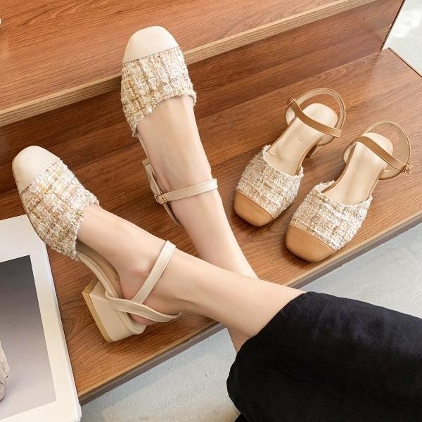 方頭鞋.法式經典小香風拼接皮革繞踝低跟包鞋.白鳥麗子