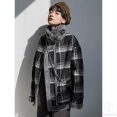 加絨加厚高領時尚復古慵懶格子羊羔毛機車服【Kacey Devlin】