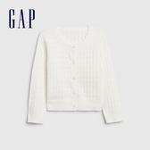 Gap女幼甜美亮色鏤空針織開衫538981-光感亮白